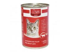 AC3 - -Alfi Cat Konzerv Marha 415g - ALFI CAT KONZERV MARHA 400G  Marhahúst tartalmazó teljes értékű konzerv macskák számára. Tartósítószer és szójamentes. Allergiás állatok is fogyaszthatják.  Energiát biztosító fehérjéket jó emésztést elősegítő rostokat a szőrzet csillogását nyújtó lipideket a szerevezetet erősítő vitaminokat és a legfontosabb ásványi anyagokat egyaránt tartalmazza.