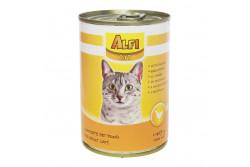 -Alfi Cat Konzerv Szárnyas 415g  AC1  ALFI CAT KONZERV SZÁRNYAS 400G  Szárnyashúst tartalmazó teljes értékű konzerv macskák számára. Tartósítószer és szójamentes. Allergiás állatok is fogyaszthatják.  Energiát biztosító fehérjéket jó emésztést elősegítő rostokat a szőrzet csillogását nyújtó lipideket a szerevezetet erősítő vitaminokat és a legfontosabb ásványi anyagokat egyaránt tartalmazza.