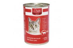 -Alfi Cat Konzerv Marha 415g  AC3  ALFI CAT KONZERV MARHA 400G  Marhahúst tartalmazó teljes értékű konzerv macskák számára. Tartósítószer és szójamentes. Allergiás állatok is fogyaszthatják.  Energiát biztosító fehérjéket jó emésztést elősegítő rostokat a szőrzet csillogását nyújtó lipideket a szerevezetet erősítő vitaminokat és a legfontosabb ásványi anyagokat egyaránt tartalmazza.