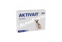 Aktivait Small Breed tabletta 60x  AKTIVS  Összetevők: Halolaj, N-Acetil-cisztein, Alpha liponsav, lecitin, acetil-L-karnitin, Q10 koenzim  Adalékanyagok: - C-vitamin (L-aszkorbinsav) (E300) (Aszkorbinsav): 63 000 mg/kg - E-vitamin (D-alfa-tokoferol acetát) (E307) (Tokoferol): 31 500 mg/kg - Szelén (L-szeleno metionin) (Se) (E8): 80 mg/kg  Célállat faj: kutya  Javallat: Étrendkiegészítő kutyáknak. Csökkenti az öregedéssel járó mentális és fizikai aktivitás tüneteit kistestű kutyákban  Adagolás:A tabletta tartalma adható egészben vagy táplálékba keverve. 1 kapszula / nap 10 kg feletti kutyáknak adjuk a közepes vagy nagytestűeknek megfelelő kapszulát  Kiszerelés: 60 tabletta