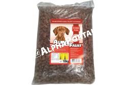 -Alpha Falat Marhás 10kg  ALFA28  ALPHA FALAT MARHÁS 10KG  Teljes értékű száraz kutyaeledel normál aktivitású felnőtt kutyák részére marha ízesítéssel.  Az Alpha Falat etetésével a garantált minőségű nyersanyagok alkalmazásának köszönhetően kutyája egy kiválóan emészthető kellemes ízű szívesen fogyasztott táplálékhoz jut.  Szárazanyag min. 93% nyersfehérje min. 16% nyerszsír min. 6% nyersrost max. 1% kálcium min. 1% foszfor min. 0 60 nátrium minimum 0 40 A vitamin 2000 0 E/kg D vitamin 228 0 NE/kg E vitamin 60 0 mg/kg. Száraz hűvös helyen tárolandó.