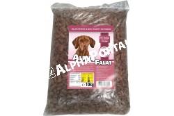 -Alpha Falat Sonkás 10kg  ALFA29  ALPHA FALAT SONKÁS 10KG  Teljes értékű száraz kutyaeledel normál aktivitású felnőtt kutyák részére sonkás ízesítéssel.  Az Alpha Falat etetésével a garantált minőségű nyersanyagok alkalmazásának köszönhetően kutyája egy kiválóan emészthető kellemes ízű szívesen fogyasztott táplálékhoz jut.  Szárazanyag min. 93% nyersfehérje min. 16% nyerszsír min. 6% nyersrost max. 1% kálcium min. 1% foszfor min. 0 60 nátrium minimum 0 40 A vitamin 2000 0 E/kg D vitamin 228 0 NE/kg E vitamin 60 0 mg/kg. Száraz hűvös helyen tárolandó.