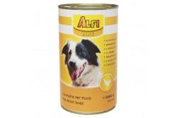 -Alfi Dog Konzerv Szárnyas 1240g  ALFIK  ALFI DOG KONZERV SZÁRNYAS 1240G  Teljes értékű konzerv szárnyas ízesítéssel. Felnőtt normál aktivitású kutyák részére 1 éves kortól ajánljuk.  Az Alfi Dog etetésével a garantált minőségű nyersanyagok alkalmazásának köszönhetően kutyája egy kiválóan emészthető kellemes ízű szívesen fogyasztott táplálékhoz jut.  Szárazanyag min. 93% nyersfehérje min. 16% nyerszsír min. 6% nyersrost max. 1% kálcium min. 1% foszfor min. 0 60 nátrium minimum 0 40 A vitamin 2000 0 E/kg D vitamin 228 0 NE/kg E vitamin 60 0 mg/kg. Száraz hűvös helyen tárolandó.