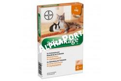 Advantage 40 macska/nyúl 0,4 ml 4 kg alatt 4x  BAYE042  Hatóanyag: Imidakloprid 100 mg/ml  Célállat fajok: macska és nyúl  Javallat: Rácsepegtető oldat macskák és nyulak bolhásságának megelőzésére és kezelésére, ezáltal a bolhacsípés okozta allergiás bőrgyulladás (FAD) megelőzésére, illetve a gyógykezelés részeként gyorsan és könnyen alkalmazható csöpögtető készítmény macskáknak és nyulak Ctenocephalides felis okozta bolhásságának kezelésére  Adagolás: az állat testtömegének megfelelő kiszerelésű pipettát csepegtesse az állat nyakára a gerinc vonalában  Kiszerelés: 4x