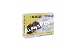 Dermo Norm tabletta 45x  BV1  Hatóanyagok: Cink – Biotin – Omega-3 és Omega-6 zsírsavak  Célállat fajok: kutya, macska  Javallat: Különleges táplálási igényeket kielégítő kiegészítő eledel kutyák és macskák részére. Felhasználási javaslat:A természetes anyagokat tartalmazó Dermo Norm tabletta fontos táplálék-kiegészítő, amely cink, biotin, Omega-3 és Omega-6 telítetlen zsírsav tartalma következtében biztosítja az egészséges bőr és szőrzetet.  Különösen ajánlott a bőrfunkció erősítése, dermatózis és erős szőrhullás esetén, a bőr és a szőrzet normális anyagcseréjének fenntartásához  Alkalmazás előtt állatorvos véleményének kikérésére javasolt.Bőr normális anyagcseréjének fenntartásához, bőrgyulladás, korpázás, hámlás, bőrelváltozás, részleges vagy teljes szőrhullás, allergiás vagy ismeretlen eredetű bőrelváltozások, kutyák bolhaekcémája kiegészítő kezelésére  Adagolás: 1-2 tbl/10 ttkg két hónapig  Kiszerelés: 45 tabletta
