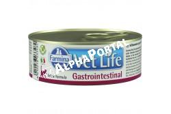 -Vet Life Cat Konzerv Gastrointestinal 85g  CVL0085002  A Farmina Vet Life Gastrointestinal teljes értékű diétás eledel macskák számára, amelyet kifejezetten felszívódási zavarok, emésztési zavarokkal járó megbetegedések és a hasnyálmirigy alulműködése következtében kialakuló emésztési zavarok kiegészítő kezelésére fejlesztettek ki. Szintén ajánlott emésztőszervi műtéten átesett macskák gyógyulásának elősegítésére.  Használati útmutató: Ajánlott állatorvos véleményének kikérése használat vagy az etetés meghosszabbítása előtt. A terméket szobahőmérsékleten tálaljuk, követve a napi mennyiség táblázatban előírtakat. Javasolt felhasználási időszak: 1-2 hét a vékonybélből való felszívódás akut rendellenességei lecsökkenése; 3-12 hét rossz emésztés kompenzációjára, egész életen át idült hasnyálmirigy-elégtelenség esetén. Mindig gondoskodjon friss, tiszta ivóvízről kedvence részére! Összetevők: csirke hús, rizs örlemény, hidrolizált álalti fehérje (csirke és hal), csirkemáj, tönköly, halolaj, hal (szardínia), csirke zsír, rizs keményítő, szárított répaszelet, Kálcium karbonát, káliumklorid, kálciumszulfát, kálciumszulfát-dihidrát dihydrate, fructooligoszaharidok/FOS (0.15%), mannóz-alapú oligoszaharid ivonat Saccharomyces Cerevisiae-ből (MOS) (0.10%), nátrium klorid, borsó rost, jukkák, szárított sörélszető. Adalékok/kg - tápértékkel rendelkező adalékanyagok: A-vitamin 6000 NE; D3-vitamin 450 NE; E-vitamin 180 mg; metionin hidroxiláz analógok cink-kelátja 250 mg; metionin hidroxiláz analógok mangán kelátja 116 mg; glicin-hidrát vas kelátja 56 mg; metionin hidroxiláz analógok réz kelátja 18 mg; szelenometionin 18 mg; kalcium-jodát, vízmentes 0,70 mg; taurin 1250 mg;. Érzékszervi adalékanyagok: cellulóz por. Analitikai alkotórészek: nyers fehérje 9.40%; nyers olajok és zsírok 5.70%; nyers rost 0.40%; hamu 2.60%; nedvesség 72.00%; kálcium 0.22%; foszfor 0.18%; nátrium  0.16%; kálium 0.35%. Bontatlanul száraz, hűvös helyen, közvetlen napfénytől védve tárolandó!