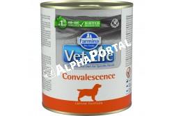 -Vet Life Dog Konzerv Convalescence 300g  CVL0300001  Convalescence konzerv eledel kutyák részére  Ideális felépüléshez, lábadozáshoz.  A Farmina Vet Life Convalescence teljes értékű diétás eledel a felnőtt kutyák táplálkozásának helyreállítására kifejlesztve. Szintén ajánlott speciális és általános betegségek következtében legyengült kutyák számára.  Használati útmutató: Ajánlott állatorvos véleményének kikérése használat vagy az etetés meghosszabbítása előtt. A terméket szobahőmérsékleten tálalja, követve a napi mennyiség táblázatban előírtakat. Javasolt felhasználási időszak: a teljes gyógyulásáig. Mindig gondoskodjon friss, tiszta ivóvízről kedvence részére! Összetétel:: csirkehús, rizs örlemény, hidrolizált állati eredetű fehérjék, csirkemáj, hal (szardínia és tonhal), dehidratált egész tojás, halolaj, állati eredetű zsír, zab örlemény, lenmag, szárított cukorrépapép, mono-dikalcium foszfát, kalcium-karbonát, kálium-klorid, inulin (0,15%), mannóz-alapú oligoszaharidok kivonata Saccharomyces Cerevisiae-ból, borsó rost, nátrium-klorid, szárított sörélesztő, glükózamin, kondroitin-szulfát. Adalékanyagok/kg - tápértékkel rendelkező adalékanyagok: A-vitamin 5140 NE; D3-vitamin 310 NE; E-vitamin 200 mg; C-vitamin 52 mg; niacin 13 mg; pantoténsav 5mg; B2-vitamin 2,5 mg; B6-vitamin 2 mg; B1-vitamin 1,6 mg; H-vitamin 0.12mg; folsav 0.16mg; B12-vitamin 0,02 mg; kolin-klorid 860mg; analóg metionin hidroxiláz cink-kelátja 280 mg; analóg metionin hidroxiláz mangán kelátja 114 mg; glicin-hidrát vas kelátja 53 mg; analóg metionin hidroxiláz réz kelátja 19 mg; szelenometionin 19 mg; kalcium-jodát, vízmentes 0,7 mg; DL-metionin 700 mg; L-lizin-HCl 500 mg; L-cisztin 500mg; taurin 1000 mg; L-karnitin 100 mg. Érzékszervi adalékanyagok: zöld tea kivonat 30 mg. Analitikai alkotórészek:: nyersfehérje 11,60%; nyers olajok és zsírok 5,70%; nyersrost 0,24%; nyershamu 5,90%; nedvesség 73.00%; kalcium 0,40%; foszfor 0,25%; nátrium 0,16%; kálium 0,19%; magnézium 0,02%; Omega-3 zsírsavak 0,