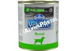 -Vet Life Dog Konzerv Renal 300g  CVL0300003  Farmina Vet Life Renal egy teljes értékű diétás eledel kutyák számára a vesefunkciók támogatására kifejlesztve, krónikus vagy időszakos veseelégtelenség esetén. Használati útmutató: Ajánlott állatorvos véleményének kikérése használat vagy az etetés meghosszabbítása előtt. A terméket szobahőmérsékleten tálaljuk, követve a napi mennyiség táblázatban előírtakat. Javasolt felhasználási időszak: a teljes gyógyulásáig. Mindig gondoskodjon friss, tiszta ivóvízről kedvence részére! Összetétel: csirkehús, rizs örlemény, hidrolizált állati eredetű fehérjék, dehidrált egész tojás, burgonya, csirkemáj, hal (tonhal), halolaj, kalcium-karbonát, lenmag, FOS, kálium-klorid, borsó rost, sörélesztőből kivont (Saccharomyces cerevisiae) mannóz-alapú oligoszacharidok, szárított sörélesztő. Adalékanyagok/kg: tápértékkel rendelkező adalékanyagok, A-vitamin 4500NE; D3-vitamin 270NE; E-vitamin 180 mg; metionin hidroxiláz analógok cink-kelátja 290 mg; metionin hidroxiláz analógok mangán kelátja 120mg; glicin-hidrát vas kelátja 56 mg; metionin hidroxiláz analógok réz kelátja 8 mg; szelenometionin 21 mg; kalcium-jodát, vízmentes 0,7 mg; taurin 1000 mg; Vizelet lúgosító adalék: kálium-citrát 2000 mg. Analitikai alkotórészek: nyersfehérje 6,80%; nyers olajok és zsírok 7,80%; nyersrost 0,18%; nyershamu 1.90%; nedvesség 71.00%; kalcium 0,20%; foszfor 0,09%; nátrium 0,09%; kálium 0,15%; Omega-3 zsírsavak 0,15%; Omega-6 zsírsavak 1,00%; EPA 0,05%; DHA 0,06%. Bontatlanul száraz, hűvös helyen, közvetlen napfénytől védve tárolandó! Felbontást követően 48 órán belül felhasználandó és hűtőszekrényben tárolandó!