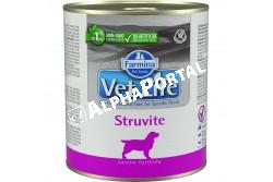 -Vet Life Dog Konzerv Struvite 300g  CVL0300004  Struvit konzerv eledel kutyák részére A struvit húgykövek feloldására és kiújulásának megelőzésére, vizeletsavasításra szolgáló eledel.  Farmina Vet Life Struvite diétás eledel kutyák számára a struvit húgykövek feloldására és kiújulásának megelőzésére kifejlesztve. Használati útmutató: Ajánlott állatorvos véleményének kikérése használat vagy az etetés meghosszabbítása előtt. A terméket szobahőmérsékleten tálaljuk, követve a napi mennyiség táblázatban előírtakat. Javasolt felhasználási időszak: a teljes gyógyulásáig. Mindig gondoskodjon friss, tiszta ivóvízről kedvence részére!Összetétel: csirkehús, őrölt rizs, hidrolizált állati eredetű fehérjék, dehidrált egész tojás, burgonya, csirkemáj, hal (szardínia és tonhal), őrölt zab, csirke zsír, halolaj, lenmag, kálium-klorid, nátrium-klorid, FOS (0,25 %), mannóz-alapú oligoszacharidok kivonata Saccharomyces Cerevisiae-ból, szárított sörélesztő. Vizelet savanyító: kalcium-szulfát-dihidrát (3g / kg). Adalékanyagok/kg: tápértékkel rendelkező adalékanyagok: A-vitamin 3800NE; D3-vitamin 150NE; E-vitamin 150mg; C-vitamin 40mg; niacin 10 mg; pantoténsav 3.8mg; B2-vitamin 1.9mg; B6-vitamin 1,5 mg; B1-vitamin 1.1mg; H-vitamin 0.10mg; folsav 0.10mg; B12-vitamin 0,005; kolin-klorid 400 mg; analóg metionin hidroxiláz cink-kelátja 240mg; analóg metionin hidroxiláz mangán kelátja 100mg; glicin-hidrát vas kelátja 50mg; analóg metionin hidroxiláz réz kelátja 11mg; szelenometionin 17 mg; kalcium-jodát, vízmentes 0,6 mg; DL-metionin 1750mg; taurin 1000 mg; L-karnitin 35 mg. Vizelet savanyító: kalcium-szulfát-dihidrát 3000mg. Analitikai alkotórészek: nyersfehérje 9,70%; nyers olajok és zsírok 4,60%; nyersrost 0,30%; nyershamu 1.90%; nedvesség 76.00%; kalcium 0,10%; foszfor 0,09%; nátrium 0,20%; kálium 0,22%; magnézium 0,0019%; taurine: 0,12%. Bontatlanul száraz, hűvös helyen, közvetlen napfénytől védve tárolandó!