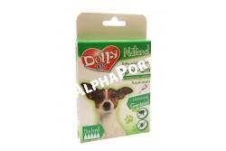 :Dolly Natural bolha és kullancsriasztó spot on kutyák részére 5x1ml  DN0180  Dolly Natural bolha- és kullancsriasztó spot on kutyák részére Terméknév: Dolly Natural bolha- és kullancsriasztó spot on kutyák részére Biocid terméktípus, termékforma: 19. terméktípus, riasztószer, spot on oldat Gyártja: Animall Professional Care Kft. (telephely: 2376 Hernád, Fő u. 183. M: +36-20-852-6464, e-mail: a.p.c.kft@gmail.com Forgalmazó: Alpha-Vet Állatgyógyászati, Kft., 8000 Székesfehérvár, Homoksor 7. Vevőszolgálat: +36-22/516-402, -403, -408, -409, e-mail: vevoszolgalat@alpha-vet.hu, www.alpha-vet.hu Hatóanyag: Gerániol 0,3 g/100 g (CAS szám: 106-24-1), Felhasználási terület: Bolha- és kullancsriasztó hatás kifejtése kutya testfelületén. Felhasználási kör: Lakossági felhasználásra Célállat: kutya Célszervezetek: bolha, kullancs Adagolás, alkalmazás, hatástartósság: A terméket vegye ki a kartondobozból, majd a kutya testtömegének megfelelő számú pipettát alkalmazzon. Egy pipetta tartalma 1 ml termék 20 kg alatti kutyának, két pipetta tartalma 2 ml, 20-40 kg közötti kutyának, míg 3 pipetta tartalma 3 ml, 40-60 kg közötti kutyának megfelelő dózis. Az állat hátán, a nyak kezdeténél hajtsa szét a szőrzetet úgy, hogy a bőr láthatóvá váljon. Ollóval vágja le a pipetta elkeskenyedő végét, majd nyomja ki a tartalmát a bőrre többször úgy, hogy a benne lévő spot on teljesen kiürüljön közvetlenül egy helyre. A termék egyszeri alkalmazással az előírt adagolásban 15 napig elriasztja a bolhákat és kullancsokat. Eltarthatóság és tárolás: 18 hónapig eltartható, az eredeti, jól lezárt csomagolásban, 0-40 °C közötti hőmérsékleten, közvetlen napfénytől védett, száraz helyen tárolva. Élelmiszertől, italtól, takarmánytól távol kell tartani. Veszélyt jelző piktogramok: Nem jelölésköteles Figyelmeztető mondatok: EUH208 Gerániolt tartalmaz. Allergiás reakciót válthat ki. EUH2010 Kérésre biztonsági adatlap kapható. Óvintézkedésre mondatok: P102 Gyermekektől elzárva tartandó. P262 Használat előtt olvass