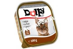 -Dolly Cat Alutálka Máj 100gr  DOLLY19  Teljes értékű állateledel felnőtt macskák számára májjal  Összetétel: hús és állati származékok 40% (4% máj), hal és halszármazékok, növényi eredetű származékok, ásványi anyagok, különféle cukrok. Analitikai összetevők: nedvességtartalom 82%, nyersfehérje 9%, zsírtartalom 5%, nyershamu 3%, nyersrost 0,3%. Adalékanyagok: Tápértékkel rendelkező adalékanyagok/kg: E- vitamin 25 mg, taurin 450 mg, cink (mint cinkszulfát-monohidrát) 10 mg, mangán (mint mangán-oxid) 2,5 mg,  Minőségét megőrzi (nap, hó, év): a csomagoláson jelölt időpontig. Gyártási tételszám a csomagoláson. Forgalmazza: Alpha-Vet Állatgyógyászati Kft., 1194 Budapest, Hofherr A u. 38-42., te.: +36-1-348-3000, email: vevoszolgalat@alpha-vet.hu Etetési javaslat: Egy átlagos méretű macska napi szükséglete max. 300 g, napi 2 étkezésre elosztva. Tálalja szobahőmérsékleten! A nyitott tálkát hűtőben tárolja és 2 napon belül használja fel! Tárolás: száraz helyen. Nettó tömeg: 100g e