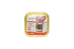 -Dolly Cat Alutálka Marhás 100gr  DOLLY8  Teljes értékű állateledel felnőtt macskák számára marhával  Összetétel: hús és állati származékok 40% (4% marha), hal és halszármazékok, növényi eredetű származékok, ásványi anyagok, különféle cukrok. Analitikai összetevők: nedvességtartalom 82%, nyersfehérje 9%, zsírtartalom 5%, nyershamu 3%, nyersrost 0,3%. Adalékanyagok: Tápértékkel rendelkező adalékanyagok/kg: E- vitamin 25 mg, taurin 450 mg, cink (mint cinkszulfát-monohidrát) 10 mg, mangán (mint mangán-oxid) 2,5 mg,  Minőségét megőrzi (nap, hó, év): a csomagoláson jelzett időpontig. Gyártási tételszám a csomagoláson. Forgalmazza: Alpha-Vet Állatgyógyászati Kft., 1194 Budapest, Hofherr A u. 38-42., te.: +36-1-348-3000, email: vevoszolgalat@alpha-vet.hu Etetési javaslat: Egy átlagos méretű macska napi szükséglete max. 350 g, napi 2 étkezésre elosztva. Tálalja szobahőmérsékleten! A nyitott tálkát hűtőben tárolja és 2 napon belül használja fel! Tárolás: száraz helyen. Nettó tömeg: 100g e