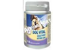 :Dog Vital Arthro-500 Izületvédő 60db  DV3222  A DOG VITAL ARTHRO500 tablettában található Perna canaliculus (új-zélandi ajakos zöldkagyló) a kötőszövetek természetes alkotóit, hialuronsavat és glükózamino-glikánokat tartalmaz, a chondroitin-szulfát az izületekben található muko-poliszaharidok közé tartozik, a cápaporc erőteljes gyulladás-csökkentő hatású, anyagai erősítik az immunrendszert és meghosszabbítják zöldkagyló hatását. A metil-szulfanil-metán (MSM) a kollagén egyik alapanyaga, mérsékli a fájdalmat, csökkenti az izzadmány mennyiségét, helyreállítja a sejtfal rugalmasságát. A C-vitamin gátolja a káros oxidatív folyamatokat, a mangán-ionok pedig .nélkülözhetetlenek az egészséges porc, illetve az izületi felületek képződéséhez. ALKALMAZÁS: A készítmény alkalmas az izületek védelmére, az inak, izületek sérüléseinek (fibrilláris szakadások, zúzódás, rándulás, ficam, stb.) kiegészítő kezelésére, a sérült kötőszövetek gyógyulási idejének lerövidítésére. Csökkenti az izületek fájdalmasságát és a mozgászavart, segít visszaszerezni az állatok eredeti mozgási képességét és aktivitását. Felhasználandó arthritis, osteoarthritis, reumatoid arthritis, porc degeneráció, bursitis, spondilitis, tendinitis, továbbá a porc és a bőr egyéb sérüléseinek a gyógykezelésében valamint traumatológiai műtétek után kiegészítő, diszplázia adjuváns kezelésre. ADAGOLÁS:  A szokásos adagolás: folyamatosan: 1 tabletta/ 10 testtömeg kg/ nap, kúraszerűen: 4-6 héten át. Súlyosabb esetekben az adag 2-3-szorosára növelhető. A hatóanyagok hatásmechanizmusából adódóan a javulás első jelei 2-4 hét után jelentkeznek.