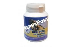 :Dog Vital Arthro Strong Ízületvédő 80db  DV3223  DOG VITAL ARTHRO STRONG ÍZÜLETVÉDŐ Kiegészítő állateledel tabletta kutyák számára mely segít megelőzni az ízületi gyulladások kialakulását az erre hajlamos állatoknál (fajta, testsúly stb.), illetve olyan állatok esetében melyek ízületi gyulladást okozó ortopédiai betegségekben (ízületi diszplázia, oszteokondrozis) szenvednek. Összetétel (1 tabletta tartalma): Glükozamin szulfát (99.5 %) 500 mg kondroitin szulfát (98 %) 100 mg MSM metil-szulfonil metán 100 mg L - Arginin 20 mg L - Prolin 20 mg Analitikai összetétel (1 tablettára vonatkozva): Növényi eredetű nyersfehérje 210 mg, Növényi eredetű szénhidrát 293 mg, Növényi eredetű zsír 19,5 mg, vivőanyagok: Magnézium-sztearát, kolloid szilikát, kukorica keményítő. Egy tabletta nergiatartalma 7,45 KJ/1,75 kcal. A készítmény jellemzői: - segíti az ízületek regenerálódási folyamatát, védi a porcokat a degenerációval szemben, - enyhíti a fájdalmat és az ízületi duzzanatot, - stimulálja a kollagén és az elasztin kialakulását,  amelyek a kötőszövet legfontosabb elemei, - elősegíti a porcok és közvetve az érintett ízületek regenerálódásához szükséges polipeptidek keletkezését, - stimulálja a hialuronsav szintézisét, csökkentve a csontfelszínek közötti súrlódást. Adagolás: 10 testtömeg-kilogrammonként napi 1 tabletta. A termék használata 30 napos ciklusokban évente 2 - 3 alkalommal ajánlott. A tabletták etethetők önmagukban vagy az eleségbe keverve. A tételszám és a minőségmegőrzési idő a fl akon kupakján található! Tárolás: Eredeti csomagolásban, szobahőmérsékleten. Ez egy táplálék-kiegészítő termék, nem helyettesíti a teljes értékű takarmányozást. Gyermekektől elzárva tartandó!
