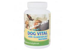 :Dog Vital Szőr- És Bőrtápláló Tabletta Biotinnal 60db  DV3260  A DOG VITAL BIOTINOS SZŐRKONDÍCIONÁLÓ tabletta a nagyszámú, életfontosságú vitamin, ásványi anyag, valamint megnövelt halolaj és biotin tartalmával segíti bőr normál anyagcsere-folyamatait, az egészséges, fényes szőrzet kialakulását és fenntartását. A biotin bioaktív vegyület, aminek fontos szerepe van a szénhidrátok és zsírok anyagcseréjében és befolyásolja a bőr zsírtartalmát. Biotin hiány esetén a bőr szürkés, a szőr fénytelen lesz, és a körmök töredezni kezdenek. Az optimális ellátás nélkülözhetetlen valamennyi korcsoportban és hozzájárul a bőr általános ellenálló képességének fokozásához, a korpázásának és a gyulladásos bántalmainak megelőzéséhez, a fényes, csillogó szőrzet kialakulásához és fenntartásához. ADAGOLÁS, ALKALMAZÁS: A DOG VITAL BIOTINOS SZŐRKONDÍCIONÁLÓ tablettát kúraszerűen adagoljuk. Az általános adagja napi 1 tabletta 10 testtömeg kilogrammonként (ttkg). A kutyák a tablettákat általában szívesen fogyasztják, de szükség esetén összetörve napi táplálékukba is bekeverhető. Vemhes és szoptató szukáknak 1 tabletta/7 ttkg /nap. Kölyökkutyáknak 0,5-1 tabletta /nap. Kistestű fajtáknak (10 kg –ig) 0,5-1 tabletta /nap. Közepes méretű fajtáknak (10-30 kg) 1-3 tabletta /nap. Nagytestű fajtáknak (30 kg felett) 3-6 tabletta /nap