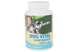 :Dog Vital Csonterősítő Ca/P 1,3:1 120db  DV3291  A DOG VITAL 1:1,3 CSONTERŐSÍTŐ tabletta ásványi anyagokat és vitaminokat tartalmazó táplálék kiegészítő kutyák részére. Az optimalizált összetételű, ízesített tabletták jól értékesülő kalciumot, foszfort és D3-vitamint valamint más mikro- és makroelemeket, vitaminokat tartalmaznak. Adagolása segíti a kutyák egészséges csont- és fogfejlődését, alkalmas a hiányos ásványianyag- és vitaminbevitel, vagy a megnövekedett szükséglet fedezésére. Javallat: A készítmény segíti az egészséges csont- és fogfejlődést, növeli a fogak és a csontok szilárdságát, segíti a vemhesség és a szoptatás alatt a megnövekedett ásványianyag-szükséglet fedezését, a kalcium- és foszforhiányból eredő anyagforgalmi zavarok megelőzését. ADAGOLÁS, ALKALMAZÁS:  a DOG VITAL CSONTERŐSÍTŐ tabletta általános adagja naponta 1 tabletta 10 testtömeg kg-onként. Vemhes szukáknak 1 tabletta/ 7 ttkg/ nap, szoptató szukának 1 tabletta/ 5 ttkg/ nap, kölyökkutyák fajtától függően 0,5-1 tabletta/ nap az ajánlott adagja.  Javasolt a DOG VITAL CSONTERŐSÍTŐ tablettát a növekedés során folyamatosan adagolni. A kutyák a tablettákat általában szívesen fogyasztják, de szükség esetén összetörve, a napi táplálékukba is belekeverhető. Adagoláskor biztosítsunk friss vizet az állat számára.