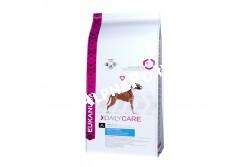 -Eukanuba Daily Care Sensitive Joints 12,5kg  EUKDC07  Eukanuba Daily Care Sensitive Joints   100%-ig teljes értékű táp az érzékeny ízületekkel rendelkező felnőtt kutyáknak  A gondtalan mozgás a jó egészség jele, de számos kutya esetében az érzékeny ízületek és a túlsúly csökkenti  az aktivitás szintjét. A speciális Eukanuba Sensitive Joints tápok elősegítik, hogy a kutya jó kondícióban  maradjon és érezze az aktív élet örömeit Az optimális eredmény érdekében ezt az étrendet naponta,  kizárólagosan kell adagolni.  Nem tartalmaz hozzáadott színező, ízesítő, tartósítószereket. Összetétel: Szárított csirke és pulyka 22%, kukorica, búza, cirok, állati eredetű zsír, árpa, szárított cukorrépapép 3,8%, hidrolizált állati fehérjék, szárított egész tojás, káliumklorid, kalcium-karbonát, halolaj, nátrium-klorid, lenmag, nátrium-hexametafoszfát, frukto-oligoszacharidok 0,38%, szárított sörélesztő, glükozamin 576mg/kg, kondroitinszulfát 57mg/kg). Analitikai összetevők: Fehérje 23%, zsírtartalom 13%, Omega-6 zsírsavak 2,20%, Omega-3 zsírsavak 0,36%, nyershamu 6,80%, nyersrost 2,60%, kálcium 1,10%, foszfor 0,90% Adalékanyagok:  Vitaminok: A-vitamin:45408IU/kg, D-vitamin: 1507IU/kg, E-vitamin: 252mg/kg, L-karnitin: 48mg/kg,béta-karotin:28mg/kg.  Nyomelemek:  Réz-szulfát pentahidrát: 48mg/kg,  Kálium-jodid: 3,5mg/kg,  Vas-szulfát monohidrát: 643mg/kg,  Mangán-szulfát-monohidrát:49mg/kg,Mangán-oxid:35mg/kg,,Cink-oxid: 223mg/kg,  Nátrium-szelenit: 0,25mg/kg. Amikor első alkalommal ad Eukanuba tápot, fokozatosan, 4 nap alatt vezesse be kutyája étrendjébe. Azt javasoljuk, hogy kutyáját naponta kétszer etesse. Ossza fel az etetési útmutató szerinti napi adagot az egyes étkezésekhez. Kutyája étvágya ettől eltérhet a korától, vérmérsékletétől és aktivitási szintjétől függően. A kutya előtt mindig legyen bőséges friss ivóvíz.  Nettó tömeg: 2,5 kg, 12,5 kg-os Tárolás: Száraz, huvös helyen tartandó!