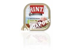 -Rinti Dog Kennerfleisch Plus Alutálka Szárnyas szív+tészta300g  FN91046  RINTI Kennerfleisch 300g. (Szárnyasszív)  Az aszpikos RINTI Kennerfleisch kímélő eljárással nagy húsdarabokkal készül. Rendkívül ízletes és hasznos teljes értékű táplálék.  A 300 g-os könnyen nyitható alutálka öt fajtában kapható: Marha - csirke - vadhús - bárány - baromfiszív. Fehérje 9% - zsír 7% - Nedvesség 80%.  A RINTI eledelválaszték valamennyi terméke garantáltan szója (növényi fehérjekivonatok) színezékek aromafokozók és tartósító anyagok nélkül készül.  RINTI Kennerfleisch: húsétel ahogy a kutya fajtájának megfelelő táplálkozásához szükséges. A kutya a természettől fogva húsevő emésztőrendszere ennek megfelelő.  A RINTI Kennerfleisch valódi húsdarabokat tartalmaz nem  tartalmaz nyesedéket aromafokozót húslisztet és gabonát szóját és színezékeket  sem hanem húst lenolajjal és ballasztanyagokkal finomítva.
