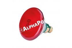 Infralámpa Izzó Piros  100 W  KR22302  PAR 38  5000h  30% energia megtakarítás cseppálló