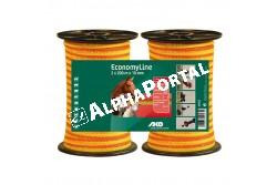 Vp.Szalag Economy Line 2x200m/10mm 60kg Sárga/Narancs  KR44565  hossz: 2 x 200 m  szélesség: 10 mm szín:sárga/narancs ajánlott kerítéshossz:200 m ellenállás Ohm/m:11.0 vezetők száma: 4 TriCOND: 0.16 mm szakítóterhelés: 60 kg