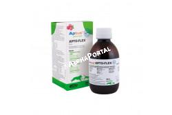 Aptus Apto-Flex szirup 200 ml +fecsk.  ORI1  HATÓANYAGOK (100 ml tartalma): Nátrium hialuronát: 140 mg Glükózamin szulfát: 800 mg Kondroitin szulfát: 400 mg E-vitamin (alfa tokoferol): 120 mg Hidrolizált kollagén: 14 000 mg MSM (metil-szulfonil-metán): 1 000 mg  Célállat fajok: kutya, macska  Javallat:Általában: az ízületi porc és inak táplálására, regenerálására kutyákban és macskákban.Nagytestű, sportoló, elhízott vagy idősebb kutyában, valamint a gyors növekedésű fajták kölyökkutyáiban az ízületi porc és inak táplálására, védelmére és regenerálására, a mozgásképesség javítására, az ízületi gyulladás megelőzésére. Ortopéd sebészeti beavatkozások, ízületi diszpláziák, oszteoartritisz, ortopéd eredetű fájdalom esetén könnyíti és gyorsítja a gyógyulást, könnyíti az ízületek mozgékonyságát, lassítja az artrózis folyamatát  Adagolás,alkalmazási mód célállat fajonként:Kutya: Általános adag 5 ml/20 ttkg, szájon át.Macska: 5 ml/állat, szájon át.A napi adagot több részre (2-3) osztva a szert közvetlenül a szájüregbe kell juttatni vagy az eleségbe kell keverni. Az alkalmazás időtartama függ az indikációtól és az Aptus® APTO-FLEX hatásától. Megelőzési célból 3 hónapos adagolást majd 1 hónapos kihagyást követően a ciklus ismételhető. Szükség esetén a készítmény élethosszig használandó  Kiszerelési egységek:200 ml fecskendővel, 500 ml adagoló kanállal