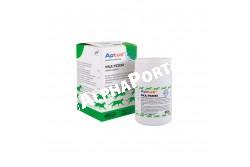 Aptus Multidog tabletta 150x  ORION2  Hatóanyagok: DL-metionin: 5 mg/g,Kalcium (Ca): 290 mg/g,Foszfor (P): 160 mg/g,Magnézium (Mg): 14 mg/g   Kiegészítők előkeverékből:A vitamin E672: 130 N,E,/g, D3 vitamin E671: 14 N,E,/g, E vitamin: 9 mg/g, (alfa-tokoferol formájában): 8,2 mg/g), C vitamin E300: 3,5 mg/g, B1 vitamin: 0,04 mg/g, B2 vitamin: 0,1 mg/g, B6 vitamin: 0,04 mg/g, B12-vitamin: 0,001 mg/g, pantoténsav: 0,7 mg/g, niacin: 0,4 mg/g, folsav: 0,007 mg/g, biotin: 0,004 mg/g, béta-karotin: 0,4 mg/g, carnitin: 5 mg/g, vas (Fe) E1: 1,1 mg/g, cink (Zn) E6: 1,3 mg/gRéz (Cu) E4 (Réz-szulfát formájában): 0,1 mg/gJód (I) E2: 0,02 mg/gSzelén(Se) E8 (Nátrium-szelenit formájában): 0,004 mg/gBetain: 3,5 mg/g  Összetétel:Trikalcium-foszfát: 66%,dikalcium-foszfát: 13%,vitamin-mikroelem-aminosav előkeverék: 9,5%,ízesítő- és segédanyagok: 9,3%,magnézium-dioxid: 2,2%  Célállat faj: kutya  Tulajdonságok:A kalcium és a foszfor a D vitaminnal együtt kulcsfontosságú tényezők a kutya csontozatának fejlődésében. A Multidog-ban a kalcium és foszfor aránya 1,8:1. A cink, biotin és metionin hiánya bőr és szőrzet problémákat okoz, főleg korpásodást, gyenge szőrminőséget, kiütéseket. Az A vitamin szükséges a szem, a bőr és a nyálkahártyák egészséges állapotához. Az A vitamin hiánya növelheti a különböző gyulladásos megbetegedések kockázatát. A B vitaminok szükségesek a bőr, a nyálkahártya és az idegrendszer egészséges állapotához. Az E vitamin antioxidánsként működik a szervezetben. Az E vitamin iránti igény növekszik, ha az eleség nagymennyiségű telítetlen zsírsavat tartalmaz. A D vitamin a növekedés időszakában szükséges a csontok fejlődéséhez. A karnitin szükséges a szív és a máj egészséges állapotához  Felhasználási javaslat:A kutyáknak akkor van szükségük eleségük kiegészítésére, ha feltételezhető, hogy alaptáplálékukból nem jutnak elegendő vitaminhoz és mikroelemhez. Ez előfordulhat, ha a kutyák házi táplálékot kapnak, vagy stressz állapotban illetve betegség esetén. A fejlődésben lév
