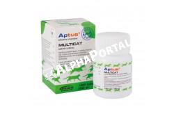 Aptus Multicat tabletta 120x  ORION7  Kiegészítők előkeverékből:A vitamin E672 210 NE/g,D3 vitamin E671 50 NE/g,E vitamin 5 mg/g,C vitamin E300 8,7 mg/g,B1 vitamin 0,75 mg/g,B2 vitamin 1 mg/g,B6 vitamin0,5 mg/g,B12 vitamin 0,002 mg/g,Pantoténsav 0,7 mg/g,Niacin 2 mg/g,Folsav 0,057 mg/g,Biotin 0,007 mg/g,Taurin 62 mg/g,Cink (Zn) E6 1 mg/g.  Összetevők:Kalcium-karbonát 64%,Élelmezési élesztő 20%,Vitamin- mikroelem-aminosav előkeverék 13,1%,Ízesítő- és segédanyagok 2,9%  Célállat faj: macska  Javallatok:Lazac ízesítésű, ásványi anyag és vitamin tartalmú kiegészítő állateledel macskák részére.A Multicat tabletta kiegészítő állateledel létfontosságú mikroelemeket, vitaminokat és aminosavakat tartalmaz. A vitaminok és mikroelemek fontosak az általános kondíció szempontjából. A kalciumra szükség van a növekedéshez és a csontok fejlődéséhez. A készítmény kiegyenlíti a macska eleségének magas foszfor tartalmát. A taurinra szükség van az anyagcseréhez. A taurint kiegészítésként kell a macska eledeléhez adni, mivel azt a macska szervezete nem képes kielégítő mértékben szintetizálni. A Multicat tabletta laktózt nem tartalmaz  Felhasználás: a Multicat tabletta kiegészítő eledelként használva kielégíti a macska napi kalcium, mikroelem, vitamin és létfontosságú aminosav igényét. Alkalmazása különösen indokolt stressz, vemhesség és szoptatás idején, valamint a növekedésben lévő kölykökben, 3 hetes életkortól. Ha a macska eledele bőségesen tartalmaz húst,vagy halat akkor a Multicat tabletta ajánlott a megfelelő mennyiségű vitamin és mikroelem ellátás biztosítására  Adagolás: hosszú idejű alkalmazásra, felnőtt macskáknak napi 1 tabletta 2 testtömeg kilogrammonként.Betegség utáni lábadozáskor, hiányállapotban, vagy erős stressz esetén illetve a vemhesség végén, a szoptatás idején, valamint a fejlődő kölyköknek napi 1 tabletta 1 testtömeg kilogrammra. A kiegészítő adásakor figyelembe kell venni a napi alaptakarmány vitamin és mikroelem tartalmát. Az ajánlott adagot nem szabad túllépni,