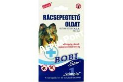 :Bobi Spot On Kutya 1 Tubusos  RODEX9  Bobi Rodex Spot on kutyának 1 tubus  RoDex Bobi Spot On cseppek - Bolha és kullancsirtó kutyák részére - A permetrinre érzékeny ektoparaziták ellen alkalmazható: Bolhák (Ctenocephalides felis) valamint kullancsok (Ixodes ricinus és Rhipicephalus sanguineus) elpusztítására. A bolhák elleni inszekticid hatás 4 hétig tart. Kullancsok ellen 4 hétig tartó folyamatos atkaölő hatással rendelkezik.  Három hónaposnál fiatalabb kutyákon NEM alkalmazható. Nem alkalmazható 2kg alatti testtömegű kutyákon.  15 kg-nál kisebb tömegű kutyák esetében a lapockák között a szőrt hajtsuk szét hogy a bőr láthatóvá váljék majd cseppentsünk 1 db tubust közvetlenül a bőrre. 15 kg-nál nagyobb tömegű kutyák esetében 2 db tubus szükséges. Az első tubust az előzőhöz hasonlóan a második tubust pedig a faroktő tájékánál cseppentsük a bőrfelületre.