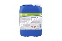 Iodosept 5 liter  SZB195  Hatóanyag: Jód, Tejsav, Didecil-dimetil-ammónium-klorid, Alkohol-etoxilált, C12-14, Alkohol-etoxilált, C9-11, Alkohol-etoxilált, C12-15, Propilénglikol, Xantán, NaOH, Citromsav monohidrát, Nátrium-jodid, Kálium-jodid, Ioncserélt víz  Javallat: felület fertőtlenítésre 3% oldatban  Behatási idő 5-15 perc