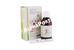 Dermafit Dog 125 ml  SZB2641  Hatóanyag: Dermafit Dog oldat tengeri halolajokat és növényi olajokat tartalmaz, magas koncentrációban fitoszterolokat, természetes tokoferolokat, valamint Omega-3 és Omega-6 zsírsavakat az optimális (1:6) arányban  Célállat faj: kutya  Javallatok: Dermafit Dog folyadék javítja a bőr és a szőrzet állapotát:- dermatózis (bőrgyulladás),- szőrhullás,- allergiás bőrviszketés, allergiás bőrelváltozásoknál,- gyulladásos bőrelváltozásoknál. Külsőleges alkalmazásra:1-2 x naponta az érintett bőrterületre cseppenteni.Belsőleg alkalmazva: Kutyának: 10 ttkg-ig: 1 ml/nap 10-20 ttkg 2 ml/nap 20 ttkg felett 3 ml/nap Az eledelben, vagy közvetlenül a szájba kell adagolni. A javasolt adagolási idő 2 hónap. Ajánlatos az adagolás előtt az állatorvos tanácsát kérni.Dermafit olajokat tartalmaz, melyek nagy része fitoszterolokból áll, ?- és ?-tokoferolokat, valamint Omega-3 és Omega-6 zsírsavakat, optimális 1:6 arányban.Dermafit javítja a bőr és a szőrzet állapotát és támogatóan alkalmazható dermatozisok, szőrhullás, allergiás bőrirritációk, gyulladásos bőrelváltozások esetén  Kiszerelés: 125 ml műanyag flakonban, adagoló pipettával