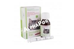 Dermafit Cat 50 ml  SZB2642  Hatóanyag: tengeri halolajokat és növényi olajokat tartalmaz, magas koncentrációban fitoszterolokat, természetes tokoferolokat, valamint Omega-3 és Omega-6 zsírsavakat az optimális (1:6) arányban  Célállat faj: macska  Javallatok: Dermafit Cat folyadék javítja a bőr és a szőrzet állapotát:- dermatózis (bőrgyulladás),- szőrhullás,- allergiás bőrviszketés, allergiás bőrelváltozásoknál,- gyulladásos bőrelváltozásoknál. Külsőleges alkalmazásra:1-2 x naponta az érintett bőrterületre cseppenteni.Belsőleg alkalmazva: Macska: 1 ml/nap Az eledelben, vagy közvetlenül a szájba kell adagolni. A javasolt adagolási idő 2 hónap. Ajánlatos az adagolás előtt az állatorvos tanácsát kérni.Dermafit olajokat tartalmaz, melyek nagy része fitoszterolokból áll, ?- és ?-tokoferolokat, valamint Omega-3 és Omega-6 zsírsavakat, optimális 1:6 arányban. Dermafit javítja a bőr és a szőrzet állapotát és támogatóan alkalmazható dermatózisok, szőrhullás, allergiás bőrirritációk, gyulladásos bőrelváltozások esetén  Kiszerelés: 50 ml műanyag flakonban, adagoló pipettával