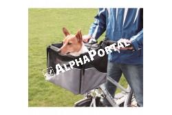 .Biciklire Szállítótáska Előre 41×26×26cm  TRX13113  Szállítóbox házi kedvencek részére utazáshoz. Anyaga: fém, műanyag, nylon,poliészter