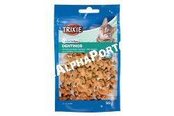 :vitamin Dentinos Macskának 50gr  TRX4266  4266 Dentinos fogtisztító vitamin macskáknak, 50g Kiegészítő eledel macskák részére. Összetétel: zabpehely, hús és állati eredetű származékok, növényi eredetű fehérjék kivonat, olajok és zsír, ásványi anyagok. Analitikai alkotórészek: nyersfehérje 23,00%, nyerszsír 7,00%, nyersrost 2,00%, nyershamu 5,00%. Adagolás: naponta jutalomként adható a normál étkezések között. Csak takarmányozási célra! Az állat előtt mindig legyen friss, tiszta ivóvíz!