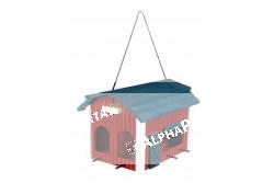 .Madáretető Kültérre, Fa Pajta 24x22x32cm Piros  TRX55853