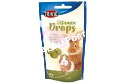 :drops Rágcsálónak Zöldséges 75gr  TRX6022  Termék:  Vitamin Cseppek zöldségekkel   Termékszám:6022 Típus:Eledel kiegészítő rágcsálóknak  Összetevők:   cukor, tej és tejtermékek, olajok és zsírok, zöldség melléktermékek és zöldség, lecitin (0,25 %), vitaminok  Tartalom: 75 g Jó minőségben eltartható:18 hónap   Elemzés:          nyers fehérje   6,30 % nyers zsír                23,00 % nyers rost   0,60 % nyers hamu   2,70 % Makró és mikró elemek:kálcium    0,25 % foszfor    0,25 % Vitaminok:A vitamin12.000 NE D3 vitamin  1.200 NE E vitamin       48 mg C-vitamin       40 mg