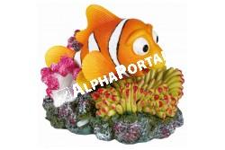 .Akvárium Dekor Kerámia Bohóchal Korallal Levegőpumpás 12x10  TRX8717  Kiegésztíő felszerelés akváriumba. Anyaga: kerámia, műanyag