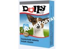 :Dolly Csonterősítő Kutya Vitamin 50db/Doboz  UP0689  Dolly Csonterősítő tabletta táplálékkiegészítő kutyák részére Leírás: Az ízesített tabletták megfelelő arányban és mennyiségben, jól értékesülő formában tartalmaznak kálciumot, foszfort és D3-vitamint. A készítmény növeli a fogak és a csontok szilárdságát, segíti a vemhesség és a szoptatás alatt a megnövekedett ásványianyagszükséglet fedezését, a kalcium- és foszforhiányból eredő anyagforgalmi zavarok megelőzését. Felhasználási javaslat: Javasolt a Dolly csonterősítő tablettát a növekedés során folyamatosan adagolni. A kutyák a tablettákat általában szívesen fogyasztják, de szükség esetén összetörve, a napi táplálékukba is belekeverhető. Adagoláskor biztosítsunk friss vizet az állat számára. Adagolás, alkalmazás: A Dolly csonterősítő tabletta általános adagja naponta 1 tabletta 10 testtömeg kg-onként. Vemhes szukáknak 1 tabletta/7 ttkg/nap, szoptató szukáknak 1 tabletta/5 ttkg/nap, kölyökkutyák fajtától függően 0,5-1 tabletta/ nap az ajánlott adagja. Tárolás: Hűvös, száraz helyen.