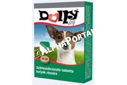 :Dolly Szőrkondícionáló Kutya Vitamin 50db/Doboz  UP0719  Dolly Szőrkondícionáló tabletta táplálék kiegészítő kutyák részére Felhasználási javaslat: A Dolly szőrkondícionáló tabletta életfontosságú és magas biológiai értékű alkotórészével alkalmas kedvenceink optimális vitamin- és ásványianyag- szükségletének kielégítéséhez. A vitamin-, az omega zsírsav- és magasabb cinktartalmának köszönhetően adagolása segíti a bőr normális anyagcsere-folyamatait és hozzájárul az egészséges, fényes szőrzet kialakulásához és fenntartásához. Hozzájárulhat a kültakaró általános ellenálló képességének fenntartásához, a korpázás és a gyulladásos bántalmainak megelőzéséhez, a betegségek utáni regenerálódás elősegítéséhez, valamint az ápolt szőrzet fényének fenntartásához. A Dolly szőrkondícionáló tabletta adása javasolt a bőr korpázásának és gyulladásos folyamatainak, a szőrzet durvává és fénytelenné válásának megelőzésére, valamint a már kialakult folyamatok lefolyásának enyhítésére és a felépülés gyorsítására. Adagolás, alkalmazás: A Dolly bőr- és szőrkondícionáló tablettaáltalános adagja naponta 1 tabletta 10 testtömeg kg-onként. Vemhes szukáknak 1 tabletta/ 7 ttkg/ nap, szoptató szukáknak 1 tabletta/ 5 ttkg/ nap, kölyökkutyák fajtától függően 0,5-1 tabletta/ nap az ajánlott adagja.Tárolás: Hűvös, száraz helyen.
