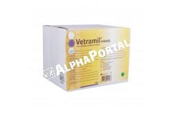 Vetramil tőgyinfúzió 10 ml 40x  VETRAMIL2  Hatóanyag: orvosi méz, propilénglikol  Célállat faj: szarvasmarha  Javallatok: A Vetramil tőgyinfúzió orvosi mézet és gyógynövény-kivonatokat tartalmazó készítmény a tejelő tehenek klinikai és szubklinikai mastitisének kiegészítő kezelésére. A Vetramil®-ben található orvosi méz enzimtartalma rendkívül magas, ennek hatására nedves közegben a glükóz-oxidáz enzimből tartósan kis mennyiségű hidrogén-peroxid szabadul fel. A Vetramil® tőgyinfúzió speciális összetétele révén nyugtatja a gyulladt területeket és segíti a tőgyszövet regenerációját  Adagolás: Intramammálisan alkalmazandó. Egy injektor (10 ml) az érintett tőgynegyedbe minden fejés után (reggel és este), 3 napon keresztül. Szövődményekkel járó mastitis esetén ajánlott a Vetramil tőgyinfúziót az adott kórokozóval szemben hatékony antibiotikumos terápiát követően alkalmazni  Kiszerelés: 40 fecskendő