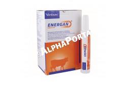 Energan Calcium 12x340 g  VIRBAC4  Hatóanyag: Kalcium-propionát,Kalcium-klorid,Dikalcium-foszfát,Magnézium-oxid,Propilén-glikol  Célállat faj: szarvasmarha  Javallat: Takarmány-kiegészítő paszta anyagforgalmi betegségek megelőzésére és kezelésének kiegészítésére.Tejhasznú tehenek számára az ellési bénulás kockázatának csökkentésére. Adagolás: Megelőzés: 1 patron 2-6 órával ez ellés előtt (az ellés megindulásának első jeleinél), majd 1 patron 12 órával később. Az ellési bénulás kiegészítő kezeléseként: 1 patron 2-4 órával a kezelés után, majd 1 patron 12 órával később  Alkalmazás módja:Csak megtartott nyelési reflex esetén adható be. A beadás során óvatosan járjunk el, ne okozzunk sérülést a garatüregben. Sérülés esetén a ne folytassa a beadást és forduljon állatorvoshoz. A patron záróelemét késsel vágja le, majd helyezze a pasztát tartalmazó patront az Energan*-adagolópisztolyba  Kiszerelés: 12x340 mg