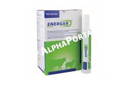 Energan Ketose paszta 12x300 g  VIRBAC5  Hatóanyag: Propilén-glikol és kalcium-propionát  Célállat faj: szarvasmarha, juh  Javallat: Takarmány-kiegészítő paszta anyagforgalmi betegségek megelőzésére és kezelésének kiegészítésére. Tejelő tehenek és anyajuhok részére ketózis/acetonémia kockázatának csökkentésére  Adagolás:Az alkalmazás ajánlott hossza: szarvasmarhánál az ellést követő 3-6 hétig, juhoknál az ellés előtt 6 hétig illetve az ellést követően 3 hétig.Ketózis/acetonémia megelőzésére:Tehén: naponta 1 patron,Juh: naponta 1/3 patron,Akut ketózis esetén és után:Tehén: naponta kétszer 1 patron, 2-4 napon keresztül,Juh: naponta háromszor 1/3 patron  Alkalmazás módja:Csak megtartott nyelési reflex esetén adható be. A beadás során óvatosan járjunk el, ne okozzunk sérülést a garatüregben. Sérülés esetén a ne folytassa a beadást és forduljon állatorvoshoz. A patron záróelemét késsel vágja le, majd helyezze a pasztát tartalmazó patront az Energan*-adagolópisztolyba  Kiszerelés: 12 x 300 g